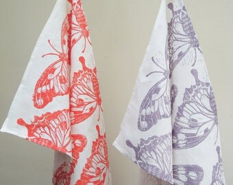 Butterfly hand block printed, in bright coral or muted lavender on white linen tea towel, kitchen decor 16 x 27