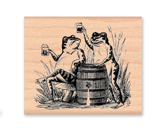CHEERS-TOASTING FROGS-beer drinking frogs- wood mounted rubber stamp (32-27)