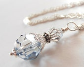 Ice Blue Bridesmaid Jewelry Swarovski Crystallized Elements Crystal Pendant Necklace on Sterling Silver Chain Winter Weddings