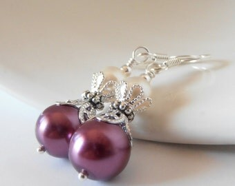 Sangria Bridesmaid Jewelry Sangria Pearl Earrings Ivory and Plum Wedding Jewelry Set Bridesmaid Earring Crystal and Pearl Beaded Dangles