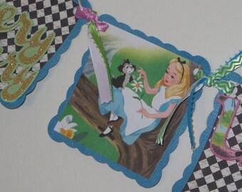 Verry Merry un-Birthday Alice in Wonderland Birthday Banner - Made to Order