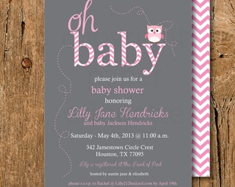 Pink Owl & Gray Baby Shower Invitations - Sip and See or Sprinkle Invite - Print Your Own