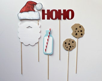 Christmas Photo Booth Props. Holiday Photobooth Photo Props. Santa Claus. Milk and Cookies