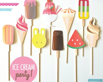 Ice Cream Social Party Props. Photobooth props. Ice Cream Party. Ice Cream Sundae