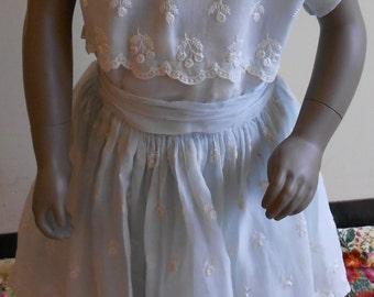 "1950's, 28"" chest, pale blue cotton voile girl's party dress."