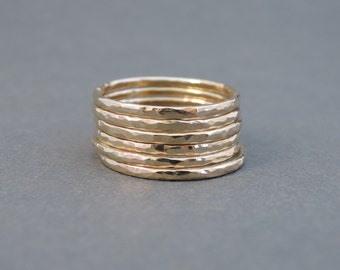 Gold Stacking Rings 16 gauge hammered rings choose quantity stackable rings
