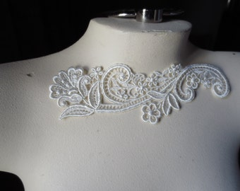 IVORY Lace Applique DYEable made in USA for Lyrical Dance, Ballet, Bridal, Sashes, Headbands IA 6