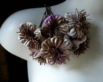 Mocha Velvet Flowers YoYo Flowers for Bridal, Boutonnieres, Millinery, Headbands MF 218