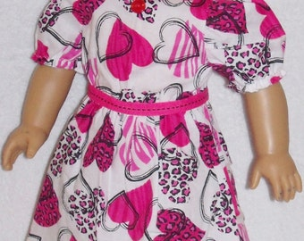 CLEARANCE / American Made 18 inch Doll Valentine Dress in Animal Print