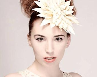 Latex Rubber Morning Dahlia white headdress
