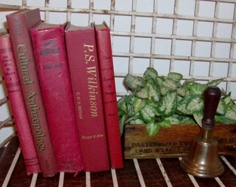 Instant Collection of 5 Deep Red Vintage and Antique Books
