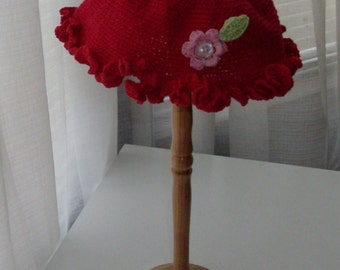 Red Ruffle Edge Crocheted Toddler Hat