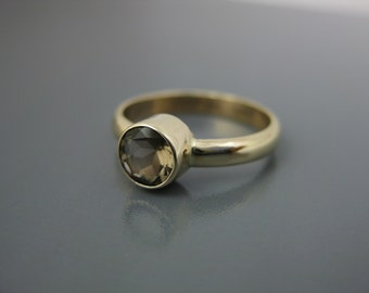 smoky quartz in eco friendly recycled 14k gold stacking ring, smoky quartz ring, statement ring, gold ring, fine jewelry, 14k gold