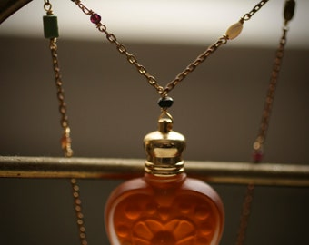 Perfume Bottle Heart Necklace - The Queen of Hearts™ - Natural Rose Oil in Glass Heart Pendant, gemstone chain