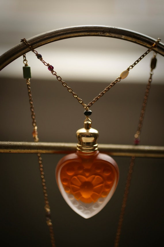 Perfume Bottle Heart Necklace - The Queen of Hearts™ - Natural Rose Oil in Glass Heart Pendant, gemstone chain - for the love witch