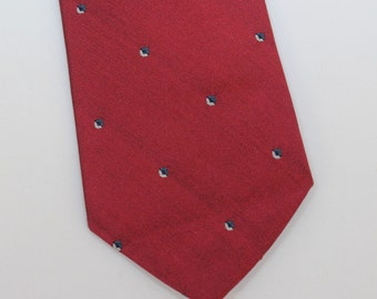 "70's Vintage Bert Pulitzer Mens Narrow Silk Necktie in Dark Red - 3"" wide"
