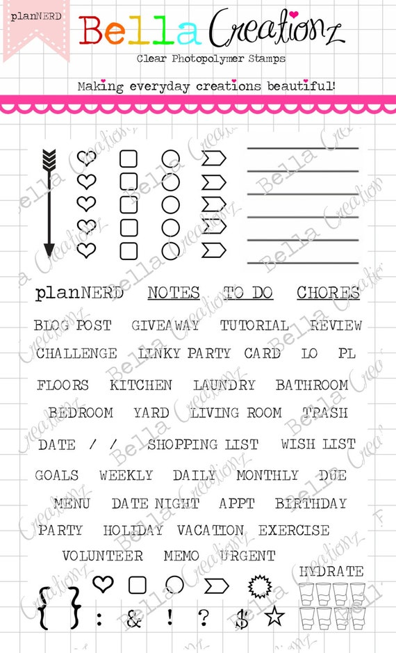 "Planner Stamp Clear Stamp Set ""planNERD"" - Perfect for your planner, Filofax, Erin Condren, lists, journals etc."