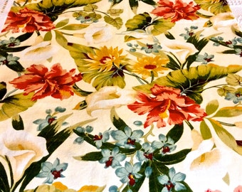 A Fantastic Floral Menagerie// Summer Flowers with a Hollywood Regency Inspired Design // Cotton Fabric Yardage// Out of Production Stock