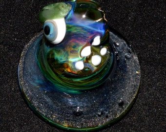 Trippy Ether Vapor Psychedelic Monster Sculpture - Handblown Glass