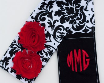 DSLR Camera Strap Cover- lens cap pocket and padding included- Shabby Chic Monogrammed Black is the New Black/ Black and Red