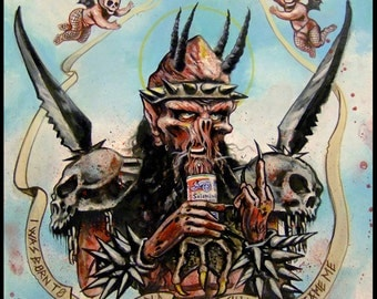 GWAR tribute print from original painting - Oderus Urungus we love you now and forever