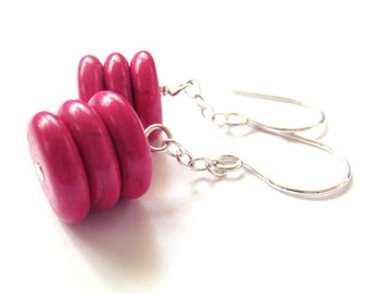 Earrings Sterling Silver Fuchsia Pink Magnesite Discs