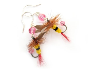 Little Bee Earrings - Yellow, Black, and Pink Fishing Lure Earrings - Fun Fly Female Fisherman Angler Fish Feather Crystal Sterling Silver