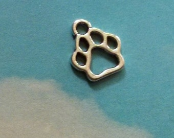 10 pawprint charms, silver tone, 13mm