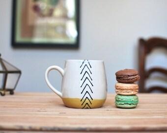 Wheel Thrown Coffee / Tea Mug in Mustard Arrows MADE TO ORDER