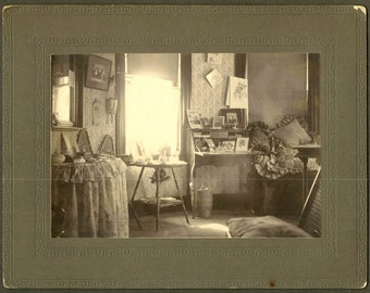 Interior Still Life - Writer's Desk Dressing Table w/ Snowshoes - 1899 Cabinet Photo