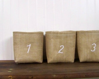 free shipping - burlap embroidered basket - 1 2 3 - personalized - natural - numbered - storage basket - fabric baskets -gift basket -number