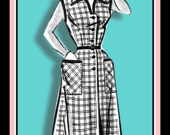 Vintage 1950s-ROCKABILLY HONEY- Shirt Dress-Sewing Pattern-Two Styles-Sleeveless-Wing Collar-Patch Pockets-Bias Contrast Trim-Size 12-Rare