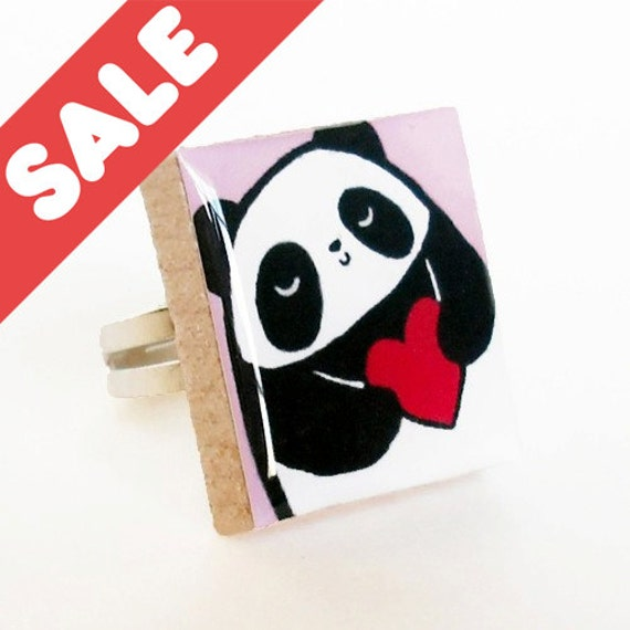 SALE Pandas Have Big Hearts Scrabble Tile Ring (Adjustable)