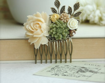 Soft Ivory Dusty Rose, Green Rustic Mum Pom, Brown, Leaf, Vintage Style Hair Comb. Bridesmaids Gift. Nature Ranch Country Wedding.