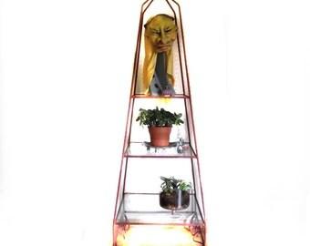 Metal Etargere Etegere / 40s 50s Obelisk Metal Glass Shelf Display / Pick Up Only
