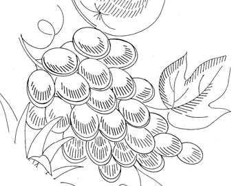 Hand Embroidery Pattern 515 Fruit Picture 11x24 inch Panels