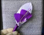 Purple wedding lapel pin purple wedding men dark purple lapel pin groomsmen pin eggplant purple feathers wedding party flowers purple flower