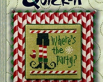 Lizzie Kate Quick-It - Where's The Party - Christmas Cross Stitch Pattern Chart and Embellishment