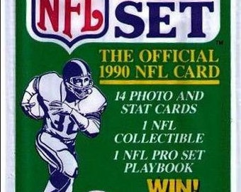 1990 Pack of the OFFICIAL NFL Pro Set Football Cards from Series One 14 cards