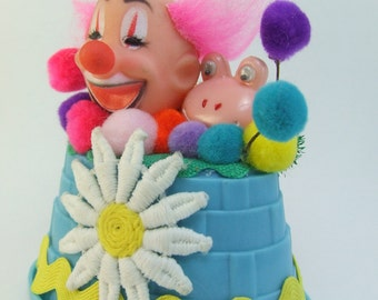 Vintage Style Birthday Clown Ornament Decoration Colorful Pom Poms