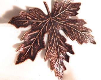 Large Vintage Brass Maple Leaf Stamping with Copper Finish