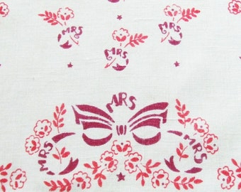 Vintage Linen Towel with MRS in Pink and Burgundy