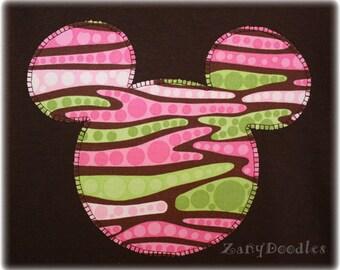 Ready to Ship - Girls' Custom Disney Animal Kingdom Appliqued Mickey Ears T-shirt Animal Print Dots Short Sleeve Tee Chocolate Brown YM