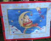 Brand New Handmade Hand Quilted Baby Blanket Teddy Bear on the Moon, Hand quilt Soft and Cuddly, Baby Shower Gift