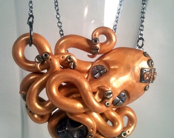 Octopus Necklace, Death Cluth, Steampunk, Gold Polymer Clay, Tentacles