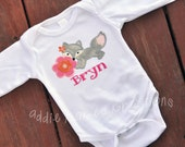 Personalized Baby Girl Fox and Flowers Bodysuit