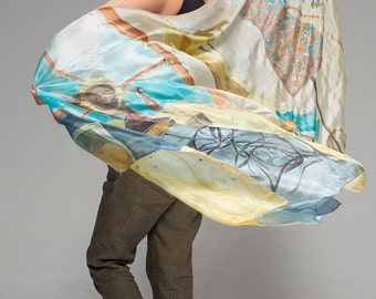Hand painted silk shawl-Dressmaker atelier. Oversized scarf. Luxury scarves handpainted. Unique handmade scarf. Fashionista gift