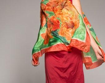 Christmas hand painted silk scarf. Silk shawl painted. Floral scarf.Luxury scarf painted. Silk scarf. Shawl, wrap, Green Red scarf ooak