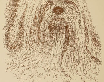 Lhasa Apso - Artist Kline draws his dog art using only words. Signed 11x17 Lithograph 36/500 - Artist Will Add Your Dogs Name Into Art Free