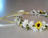 Custom pastel Daisy flower crown lilac pale pink light yellow hair wreath Wedding Bridal party Accessories floral halo music festival